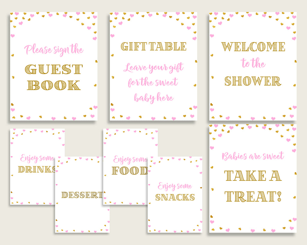Table Signs Baby Shower Table Signs Hearts Baby Shower Table Signs Baby Shower Hearts Table Signs Pink Gold party plan printables bsh01