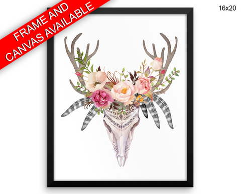 Skull Flowers Print, Beautiful Wall Art with Frame and Canvas options available Animal Decor