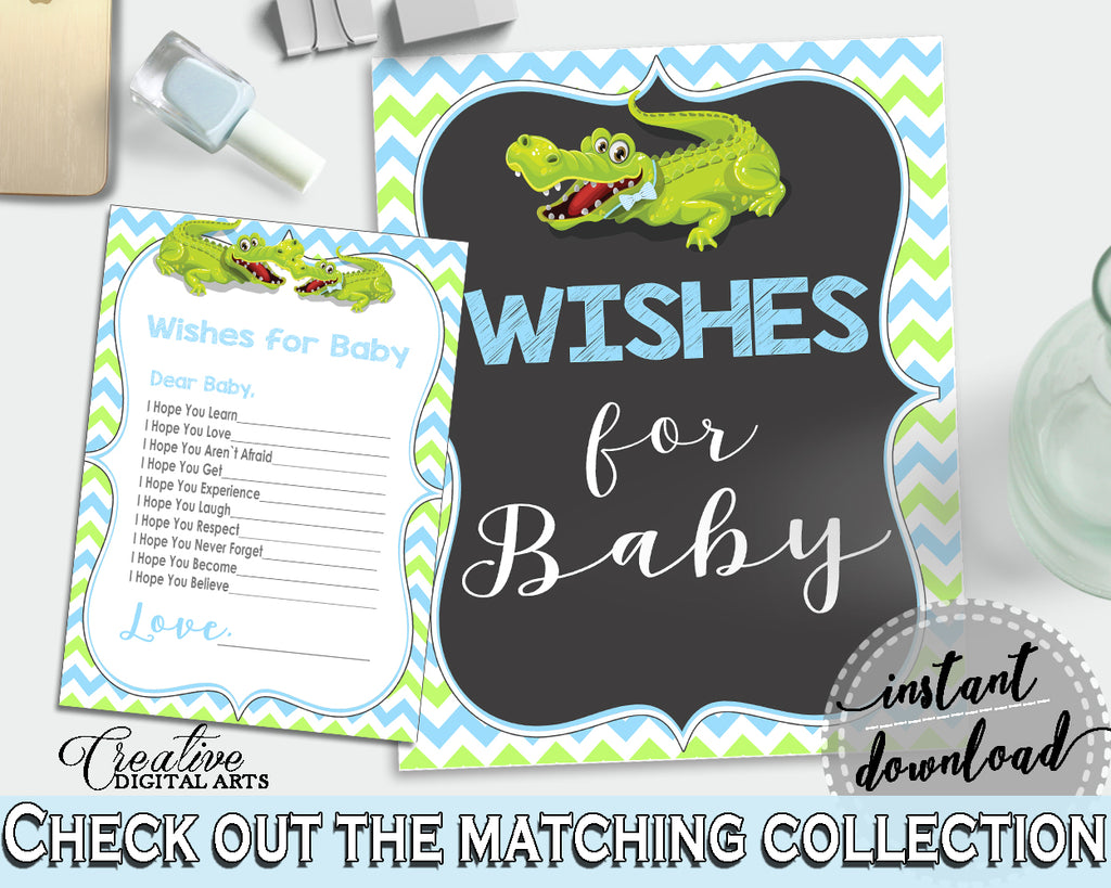 WISHES FOR BABY activity advice for baby shower with green alligator and blue color theme, instant download - ap002