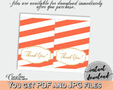 Baby shower party glitter gold THANK YOU card printable in orange stripe theme for girls or boys, digital jpg pdf, instant download - bs003