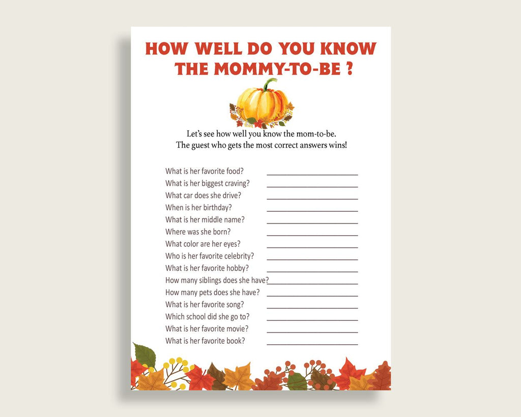 How Well Do You Know Mommy Baby Shower How Well Do You Know Mommy Fall Baby Shower How Well Do You Know Mommy Baby Shower Pumpkin How BPK3D - Digital Product