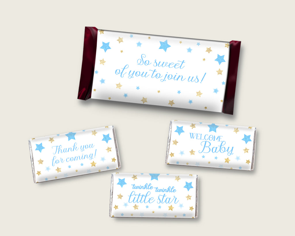 Stars Hershey Candy Bar Wrapper Printable, Blue Gold Chocolate Bar Wrappers, Boy Shower Candy Labels, Instant Download, Little Star bsr01
