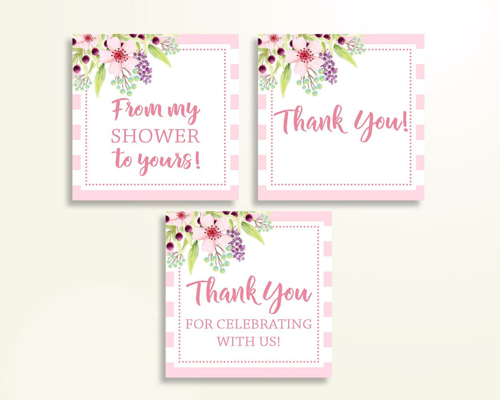 Thank You Tags Baby Shower Thank You Tags Pink Baby Shower Thank You Tags Baby Shower Flowers Thank You Tags Pink Green prints party 5RQAG - Digital Product