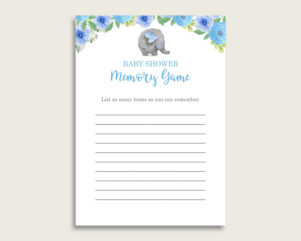 Elephant Blue Baby Shower Memory Game, Blue Gray Memory Guessing Game Printable, Baby Shower Boy, Instant Download, Mammoth Flowers ebl01