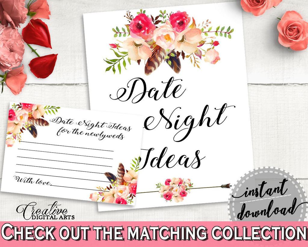 Bohemian Flowers Bridal Shower Date Night Ideas in Pink And Red, cards and sign, pink red, shower activity, party theme, party decor - 06D7T - Digital Product