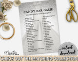 Candy Bar Game in Silver Wedding Dress Bridal Shower Silver And White Theme, candy description, special day, party organizing - C0CS5 - Digital Product