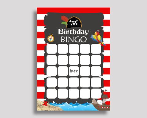 Birthday Game Pirate Gift Bingo Pirate Birthday Bingo Red Black Party Activity Boy INGIO