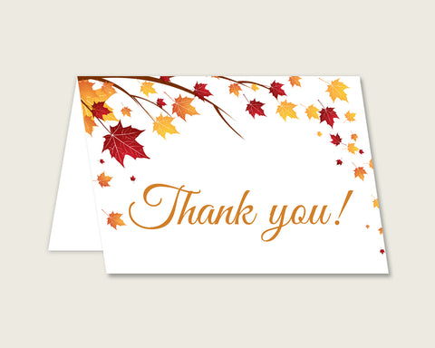 Thank You Card Bridal Shower Thank You Card Fall Bridal Shower Thank You Card Bridal Shower Autumn Thank You Card Brown Yellow party YCZ2S