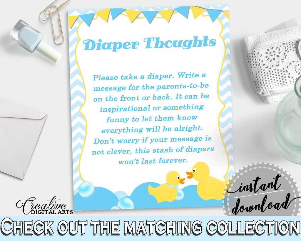 Blue And Mint Baby Shower Ducks Diaper Stash Thinking Of You DIAPER THOUGHTS, Party Plan, Digital Print, Shower Activity - rd002 - Digital Product