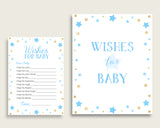 Blue Gold Wishes For Baby Cards & Sign, Stars Baby Shower Boy Well Wishes Game Printable, Instant Download, Most Popular Little Star bsr01