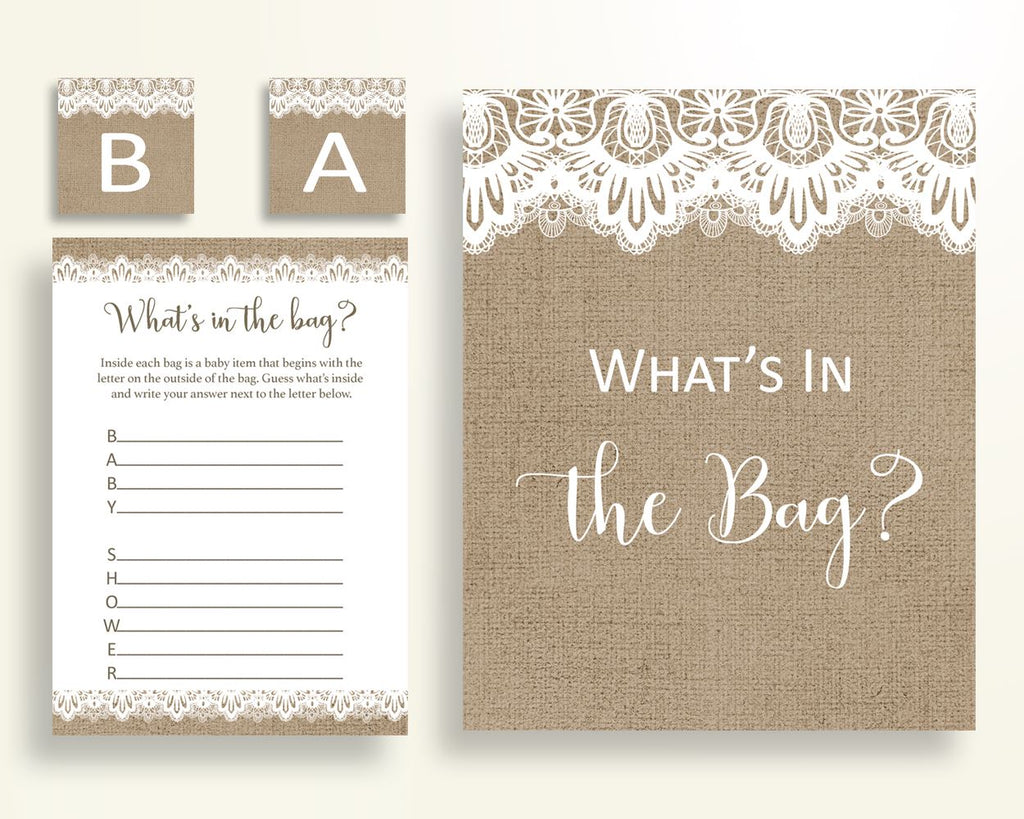 What's In The Bag Baby Shower What's In The Bag Burlap Lace Baby Shower What's In The Bag Baby Shower Burlap Lace What's In The Bag W1A9S - Digital Product