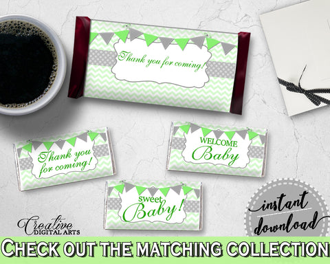 Baby shower CANDY BAR decoration wrappers and labels printable with chevron green theme for boys or girls, Jpg Pdf, instant download - cgr01