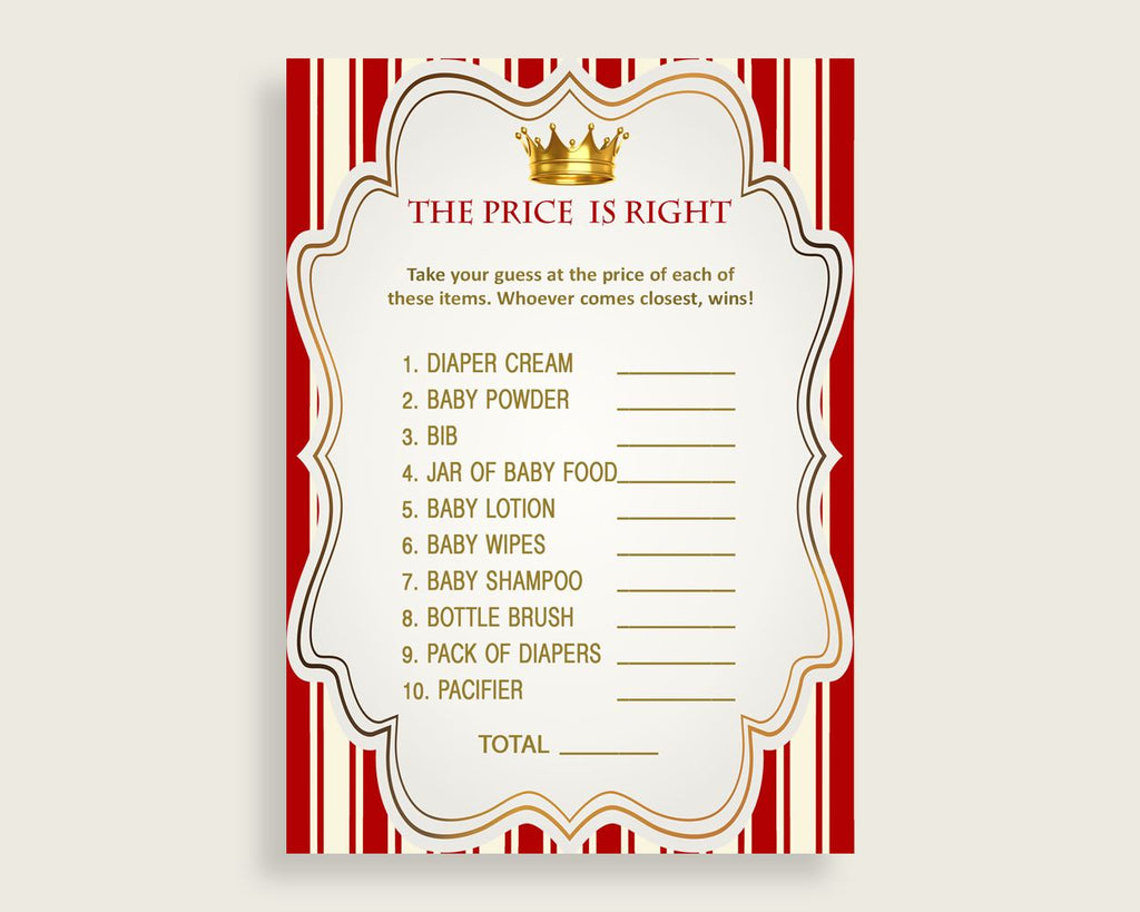 Red Gold The Price Is Right Game, Prince Baby Shower Boy Activity, Guess The Price Game Printable, Instant Download, Crown Cute Theme 92EDX