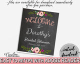Bridal Shower Welcome Sign Editable in Chalkboard Flowers Bridal Shower Black And Pink Theme, editable greetings, printable files - RBZRX - Digital Product