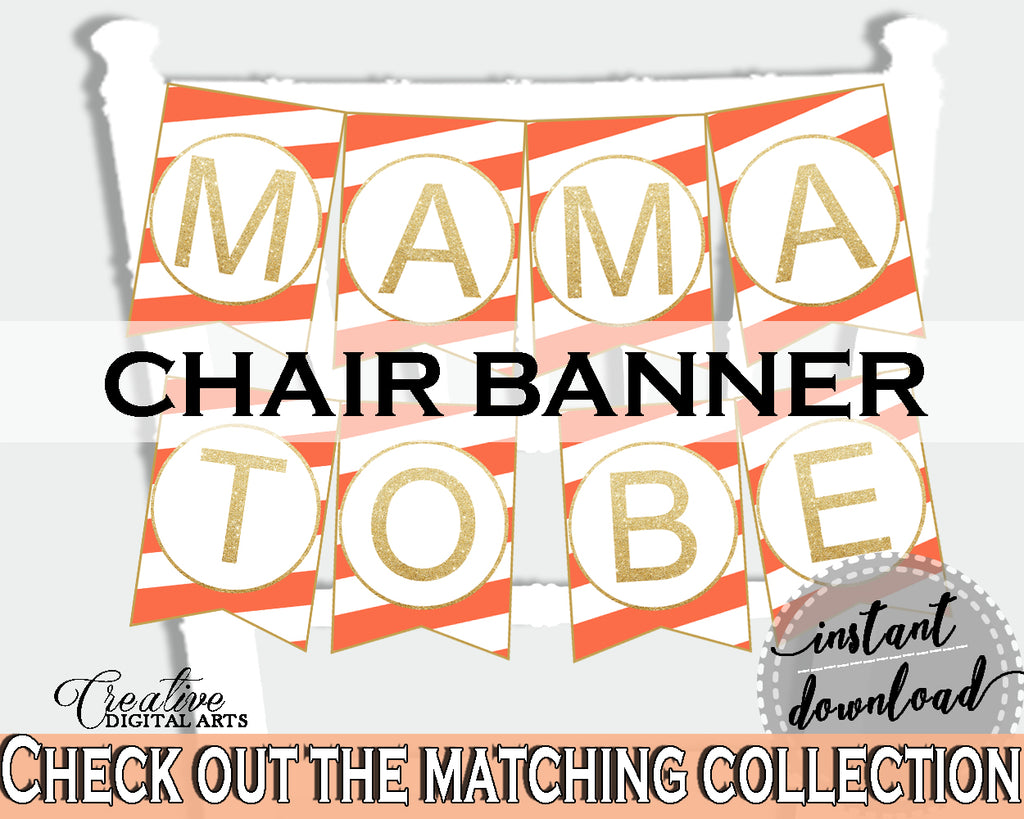 Baby shower CHAIR BANNER decoration printable with orange striped theme, digital files, glitter gold, jpg pdf, instant download - bs003
