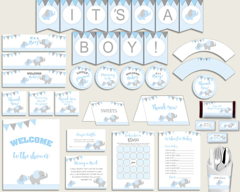 Blue Grey Baby Shower Decorations Boy Kit, Elephant Baby Shower Party Package Printable, Instant Download, Little Peanut Most Popular ebl02