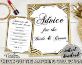 Advice For The Bride And Groom in Glittering Gold Bridal Shower Gold And Yellow Theme, wedding stationary, party stuff, party plan - JTD7P - Digital Product
