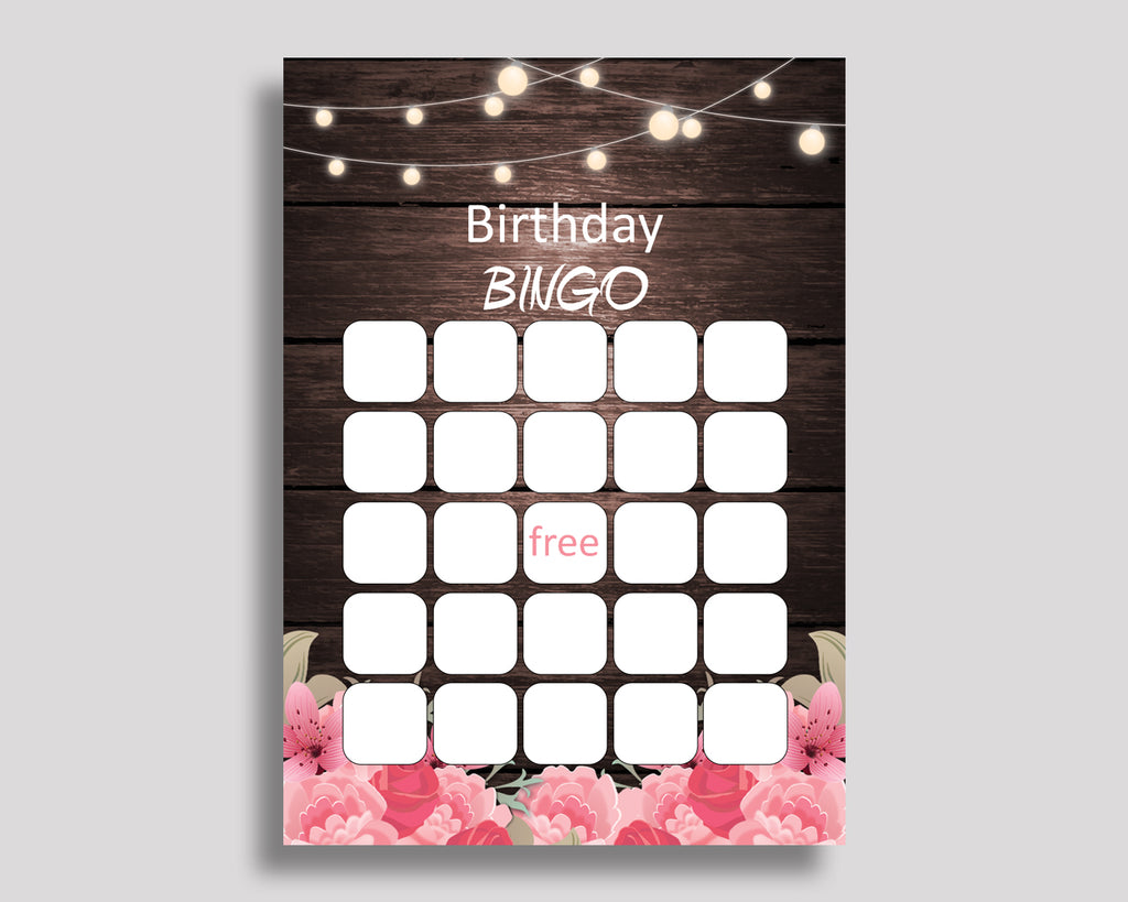 Birthday Game Rustic Gift Bingo Rustic Birthday Bingo Pink Brown Party Activity Girl OE0W8