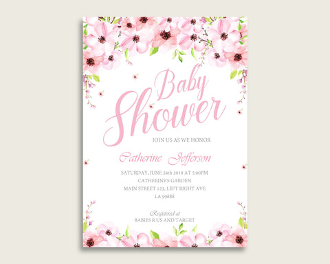 Flower Blush Baby Shower Invitations Printable, Digital Or Printed Invitation Baby Shower Girl, Editable Invitation Pink Green Flowers VH1KL