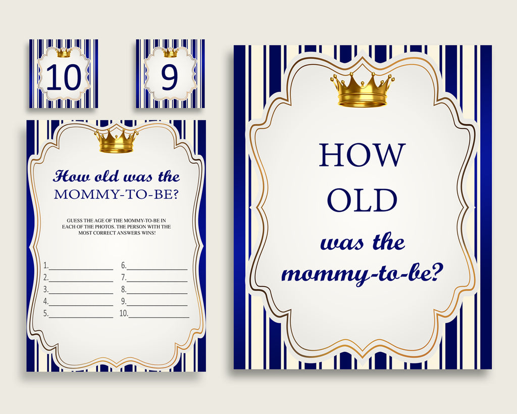 Blue Gold How Old Was The Mommy To Be Boy Baby Shower Game