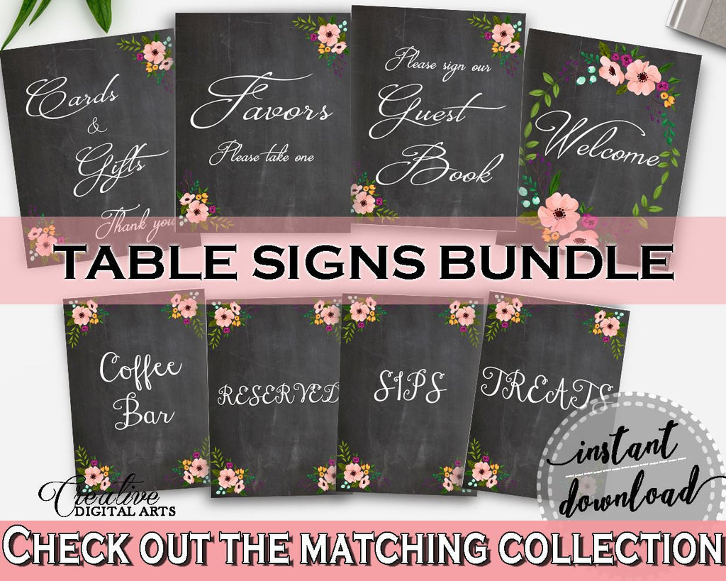 Table Signs Bundle In Chalkboard Flowers Bridal Shower Black And Pink  Theme, Table Signs Shower