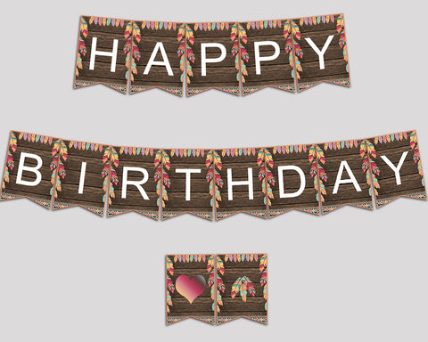 Wild One Happy Birthday Banner, Feathers Birthday Party Banner, Printable Brown Green Banner Letters for Boy Girl, LQES5