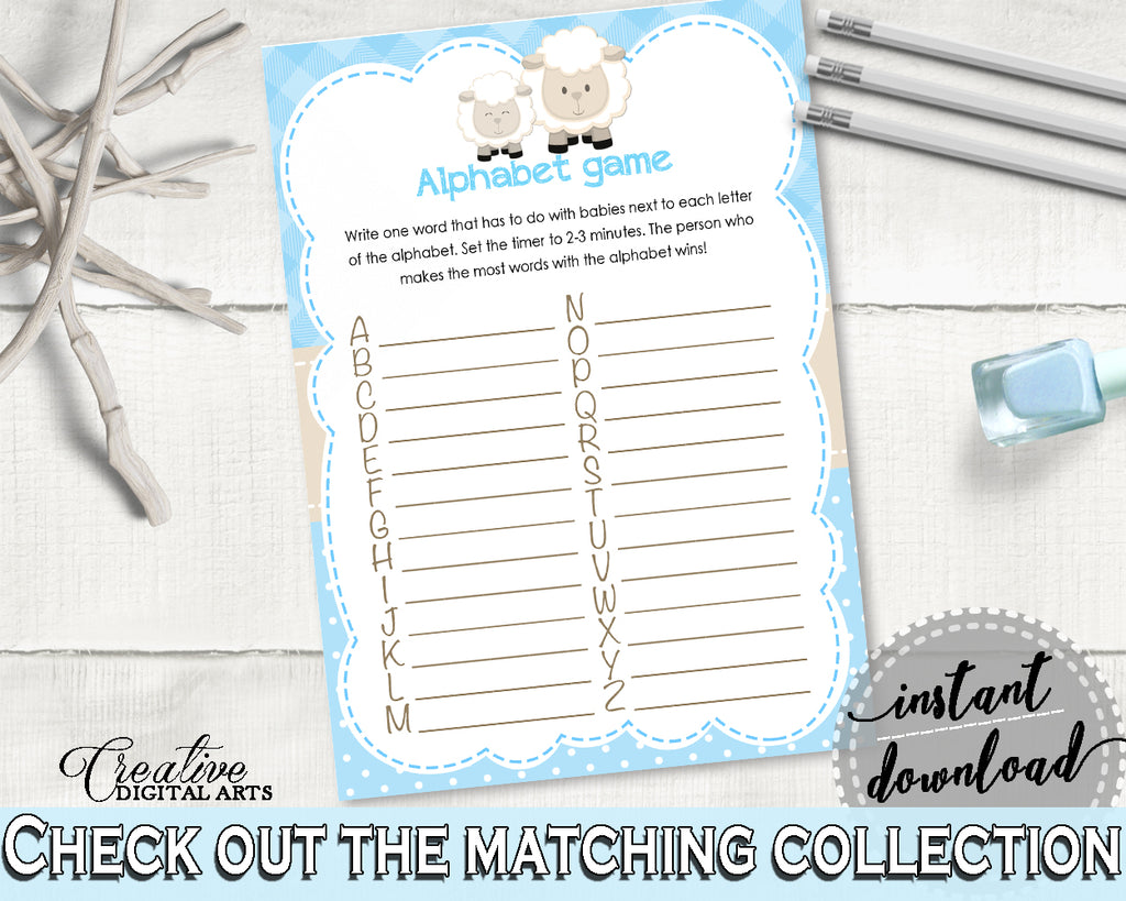 Little Lamb Baby Shower Boy ALPHABET game with blue theme printable sheep, digital file, diy, jpg and pdf, instant download - fa001