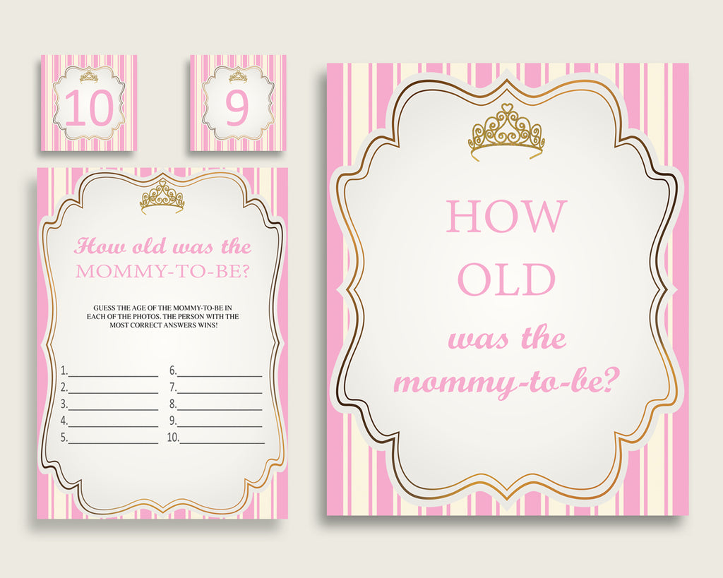 Pink Gold How Old Was The Mommy To Be, Girl Baby Shower Game Printable, Royal Princess Guess Mommy's Age Game, Instant Download, rp002