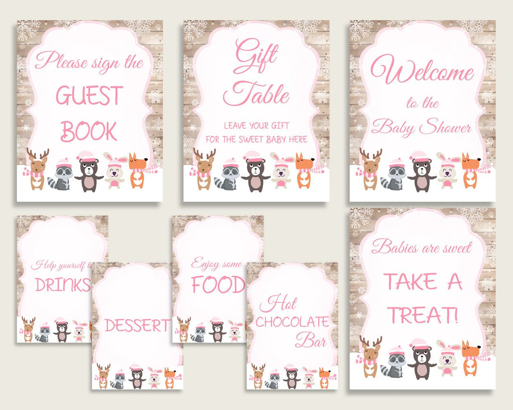 Table Signs Baby Shower Table Signs Forest Girl Baby Shower Table Signs Baby Shower Forest Girl Table Signs Pink White digital print OBJUF - Digital Product