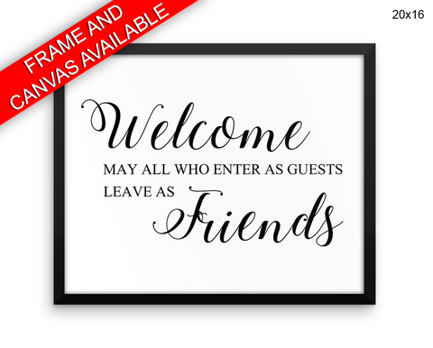 Welcome Print, Beautiful Wall Art with Frame and Canvas options available Home Decor