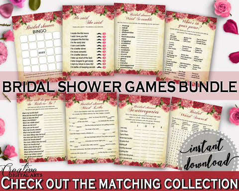 Games Bridal Shower Games Vintage Bridal Shower Games Bridal Shower Vintage Games Red Pink digital download, instant download, pdf XBJK2 - Digital Product