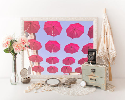 Wall Art Red Umbrella Digital Print Red Umbrella Poster Art Red Umbrella Wall Art Print Red Umbrella Photography Art Red Umbrella Sky - Digital Download