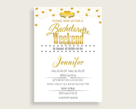 Bachelorette Weekend Invitation Bridal Shower Bachelorette Weekend Invitation Gold Hearts Bridal Shower Bachelorette Weekend 6GQOT