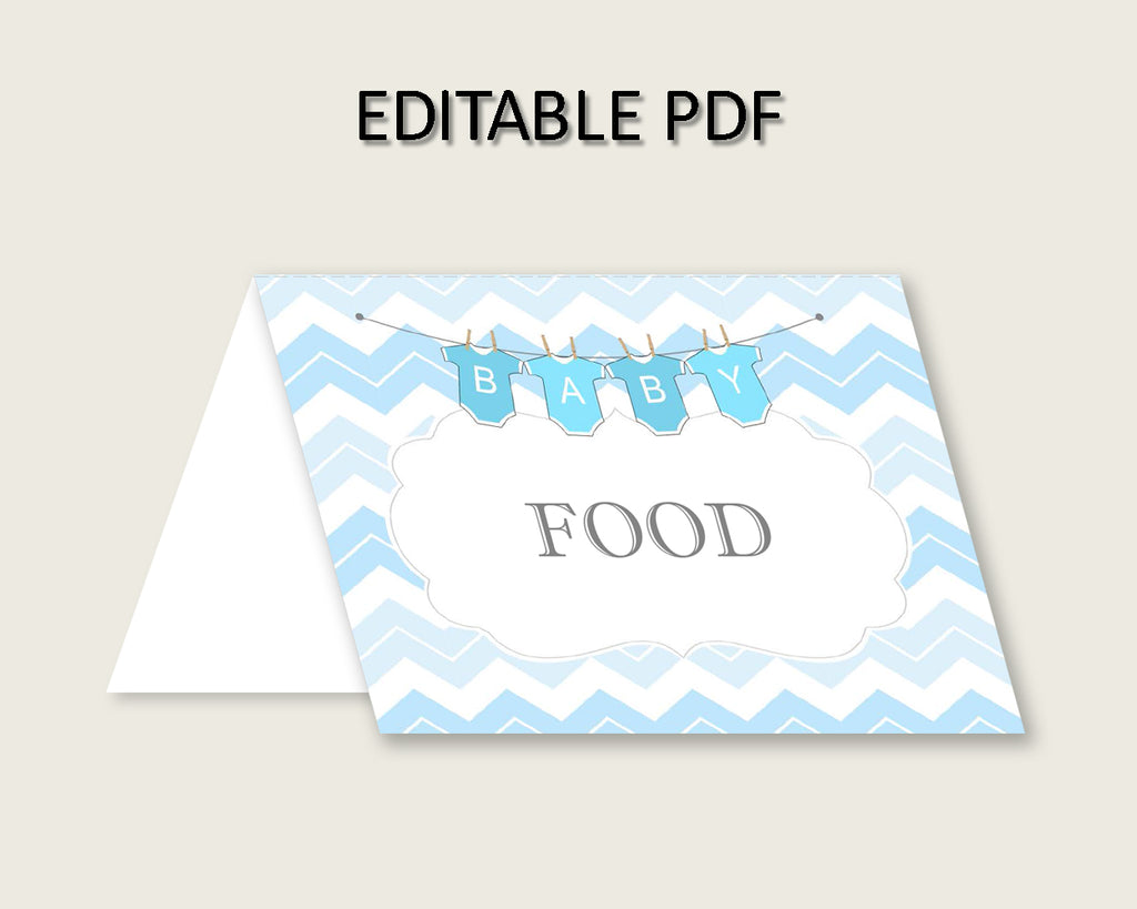 Chevron Folded Food Tent Cards Printable, Blue White Editable Pdf Buffet Labels, Boy Baby Shower Food Place Cards, Instant Download, cbl01