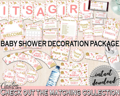 Decoration Package, Baby Shower Decoration Package, Dots Baby Shower Decoration Package, Baby Shower Dots Decoration Package Pink Gold RUK83 - Digital Product