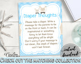 Little Lamb Baby Shower Boy DIAPER THOUGHTS blue game printable, sheep boy shower theme, digital file Jpg Pdf, instant download - fa001