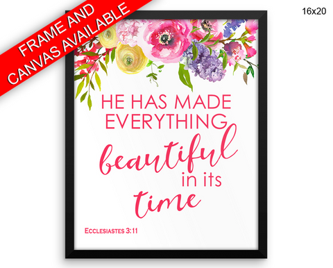 Ecclesiastes Print, Beautiful Wall Art with Frame and Canvas options available Holy Decor
