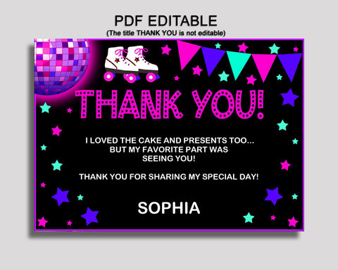 Birthday Roller Skates Thank You Roller Skates Self Editable Pink Black Thank You Notes Roller Skates Party Thank You Girl 8NAK7
