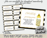 CANDY GUESSING GAME sign and tickets for baby shower with black white stripes color theme printable, Jpg Pdf, instant download - bs001