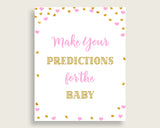 Baby Predictions Baby Shower Baby Predictions Hearts Baby Shower Baby Predictions Baby Shower Hearts Baby Predictions Pink Gold party bsh01