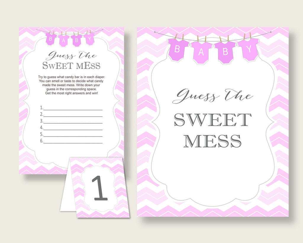 Chevron Guessing Game Baby Shower Girl, Pink White Guess The Sweet Mess Game Printable, Dirty Diaper Game, Instant Download, Popular cp001