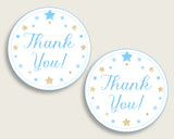 Stars Baby Shower Round Thank You Tags 2 inch Printable, Blue Gold Favor Gift Tags, Boy Shower Hang Tags Labels, Digital File bsr01