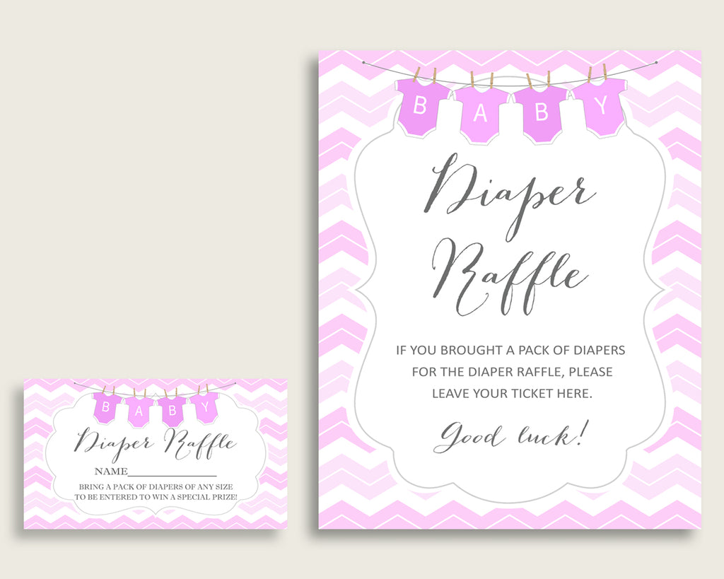 Chevron Baby Shower Diaper Raffle Tickets Game, Girl Pink White Diaper Raffle Card Insert and Sign Printable, Instant Download cp001