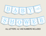 Whale Baby Shower Banner All Letters, Birthday Party Banner Printable A-Z, Blue White Banner Decoration Letters Boy, Light Blue wbl01