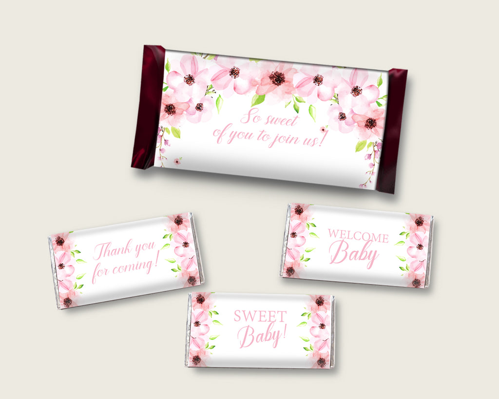 Flower Blush Hershey Candy Bar Wrapper Printable, Pink Green Chocolate Bar Wrappers, Girl Shower Candy Labels, Instant Download, VH1KL