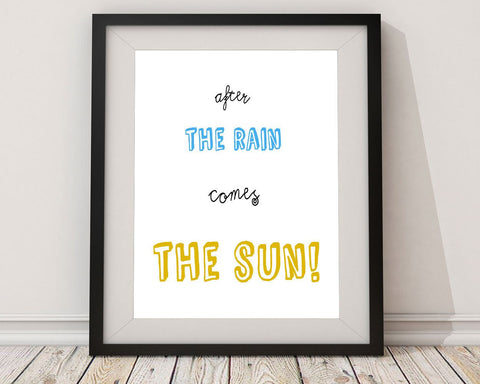 Wall Art Sun Digital Print Rain Poster Art Sun Wall Art Print Rain Inspirational Art Rain Inspirational Print Sun Wall Decor Sun quote art - Digital Download