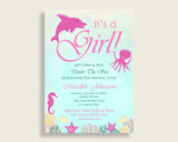 Invitation Baby Shower Invitation Under The Sea Baby Shower Invitation Baby Shower Under The Sea Invitation Pink Green Sea Creatures uts01
