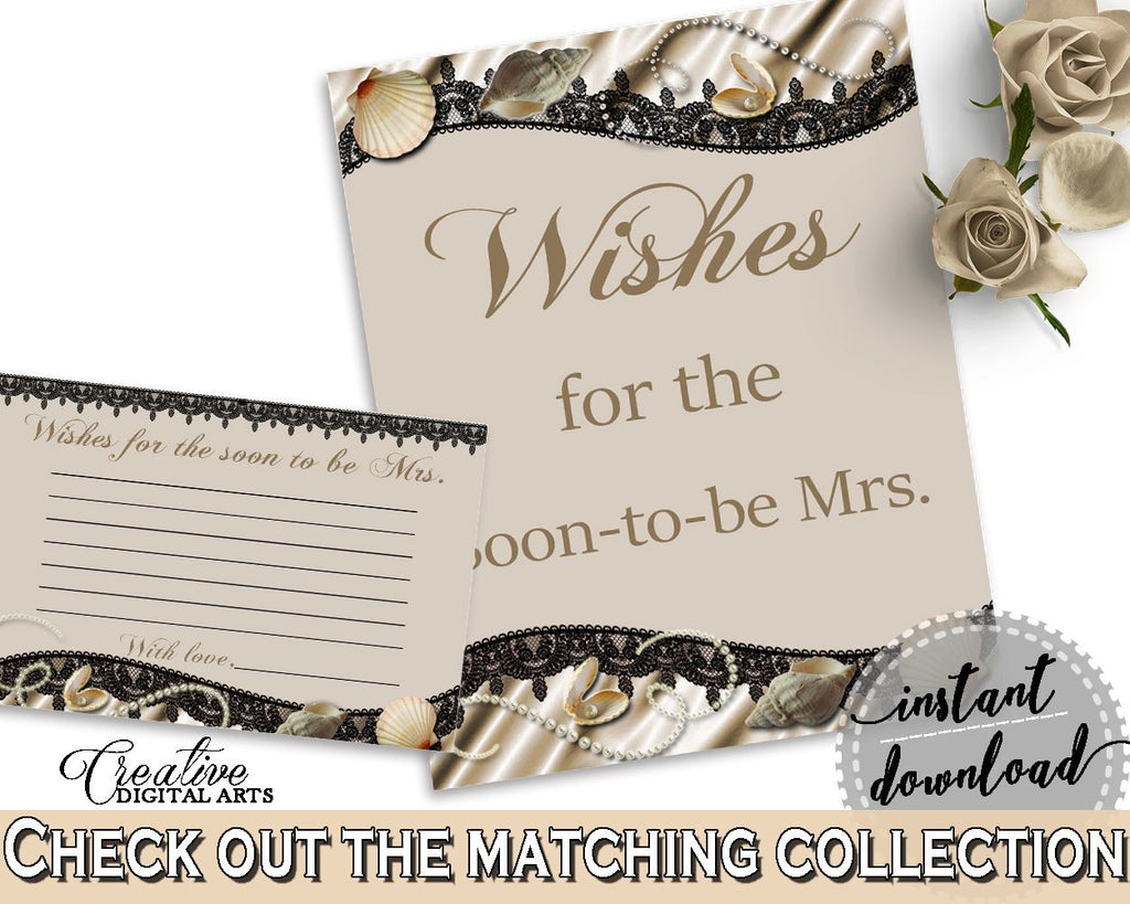 Brown And Beige Seashells And Pearls Bridal Shower Theme: Wishes For The Soon To Be Mrs - advice well wishes, party organization - 65924 - Digital Product