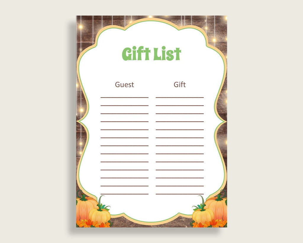 Gift List Baby Shower Gift List Autumn Baby Shower Gift List Baby Shower Autumn Gift List Brown Orange prints printable files 0QDR3 - Digital Product