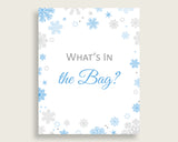 What's In The Bag Baby Shower What's In The Bag Snowflake Baby Shower What's In The Bag Blue Gray Baby Shower Snowflake What's In The NL77H